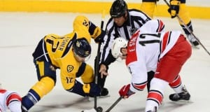 Carolina Hurricanes Eric Staal and Nashville Predators Mike Fisher