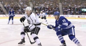 P.A. Parenteau of the Toronto Maple Leafs and Brayden McNabb of the Los Angeles Kings