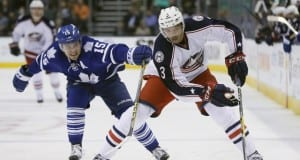 Seth Jones of the Columbus Blue Jackets and P.A. Parenteau of the Toronto Maple Leafs