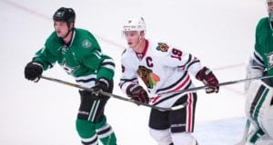 Jamie Benn of the Dalas Stars and Jonathan Toews of the Chicago Blackhawks