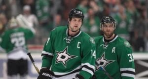 Jamie Benn and Alex Goligoski of the Dallas Stars