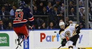 Keith Yandle of the New York Rangers and Adam McQuaid of the Boston Bruins