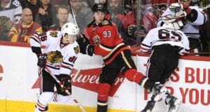 Andrew Shaw and Teuvo Teravainen of the Chicago Blackhawks