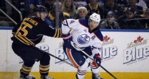 Rasmus Ristolainen of the Buffalo Sabres and Taylor Hall, formerly of the Edmonton Oilers
