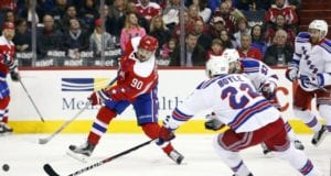 Marcus Johansson of the Washington Capitals against the New York Rangers