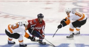 Brayden Schenn and Brandon Manning of the Philadelphia Flyers