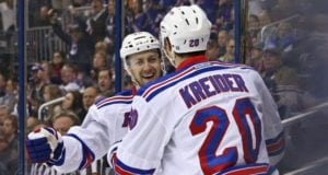 Derek Stepan and Chris Kreider of the New York Rangers