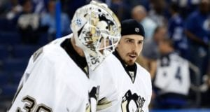 Matt Murray and Marc-Andre Fleury of the Pittsburgh Penguins