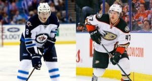 Jacob Trouba of the Winnipeg Jets and Hampus Lindholm of the Anaheim Ducks