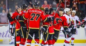 Calgary Flames Dougie Hamilton after scoring on the Ottawa Senators