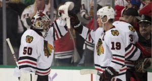 Corey Crawford is progressing and Jonathan Toews returned last night
