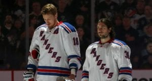 Marc Staal and Mats Zuccarelllo of the New York Rangers