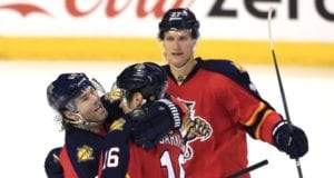 Nick Bjugstad and Aleksander Barkov of the Florida Panthers