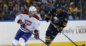 Evander Kane of the Buffalo Sabres and Alex Galchenyuk of the Montreal Canadiens