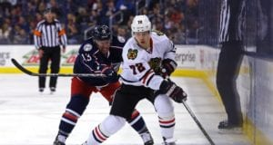 Artemi Panarin of the Chicaog Blackhawks and Cam Atkinson of the Columbus Blue Jackets