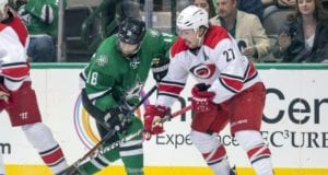 Justin Faulk of the Carolina Hurricanes and Patrick Eaves of the Dallas Stars