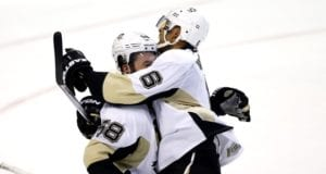 Kris Letang and Trevor Daley of the Pittsburgh Penguins