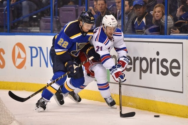 Kevin Shattenkirk of the St. Louis Blues and Derek Stepan of the New York Rangers