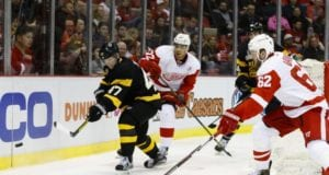Andreas Athanasiou and Thomas Vanek of the Detroit Red Wings