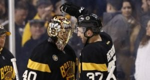 Boston Bruins Tuukka Rask and Patrice Bergeron were injured last night