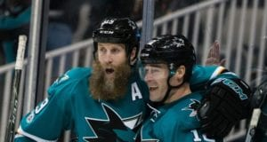 Joe Thornton and Patrick Marleau of the San Jose Sharks