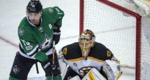 Patrick Sharp of the Dallas Stars and Tuukka Rask of the Boston Bruins