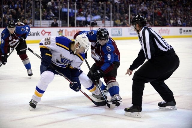 Matt Duchene of the Colorado Avalanche and Paul Stastny of the St. Louis Blues