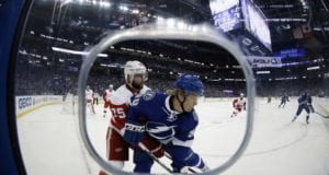 Vladislav Namestnikov of the Tampa Bay Lightning and Mike Green of the Detroit Red Wings