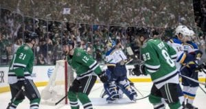 Ales Hemsky and Antoine Roussel of the Dallas Stars