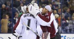 Semyon Varlamov and Calvin Pickard of the Colorado Avalanche