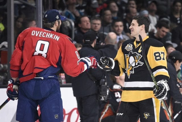 Sidney Crosby of the Pittsburgh Penguins and Alex Ovechkin of the Washington Capitals