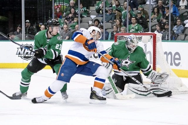 John Tavares of the New York Islanders and Antti Niemi of the Dallas Stars