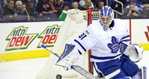 Toronto Maple Leafs Frederik Andersen was on the ice for a bit yesterday after being pulled from Saturday's game