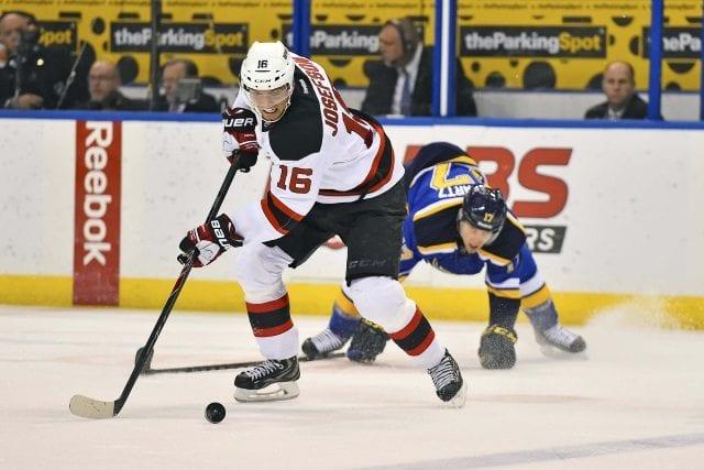 New Jersey Devils Jacob Josefson against the St. Louis Blues