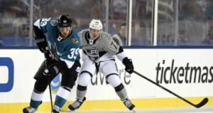 Logan Couture of the San Jose Sharks and Tyler Toffoli of the Los Angeles Kings