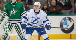 Tampa Bay Lightning Jonathan Drouin in front of the Dallas Stars net
