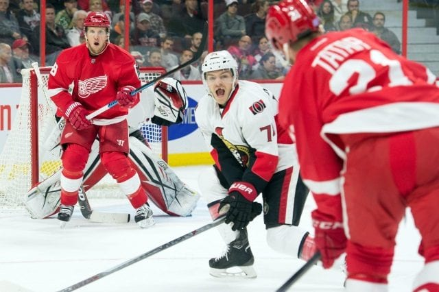 Tomas Tatar and Justin Abdelkader of the Detroit Red Wings