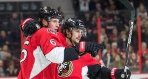Erik Karlsson and Bobby Ryan of the Ottawa Senators