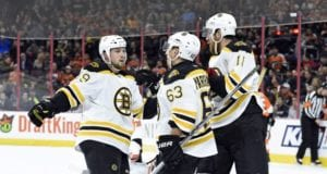Matt Beleskey, Jimmy Hayes and Brad Marchand of the Boston Bruins
