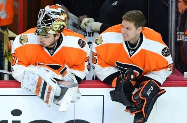 Steve Mason and Michal Neuvirth of the Philadelphia Flyers