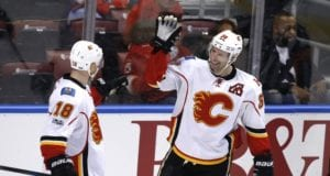 Troy Brouwer and Matt Stajan of the Calgary Flames