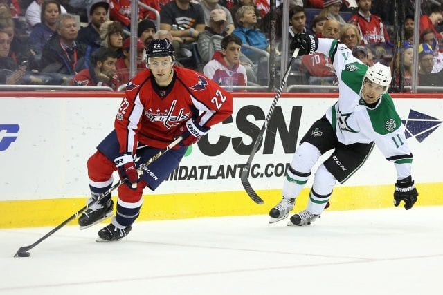Kevin Shattenkirk of the Washington Capitals and Curtis McKenzie of the Dallas Stars