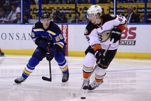 Paul Stastny of the St. Louis Blues and Sami Vatanen of the Anaheim Ducks