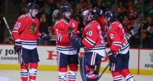 Brent Seabrook and Corey Crawford of the Chicago Blackhawks