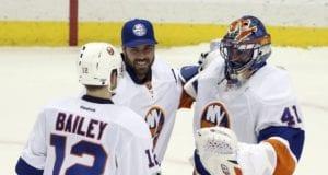 J-F Berube and Jaroslav Halak of the New York Islanders
