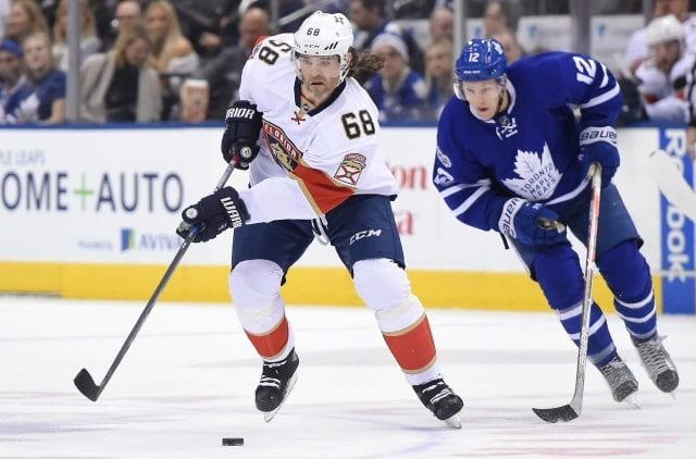 Jaromir Jagr of the Florida Panthers and Connor Brown of the Toronto Maple Leafs
