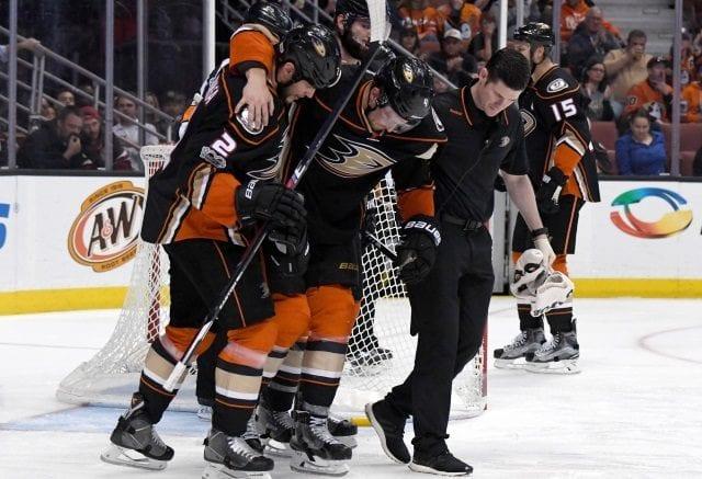 Anaheim Ducks defenseman Cam Fowler left with a knee injury