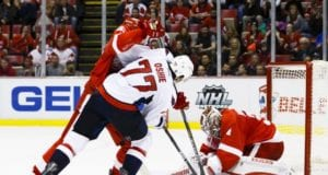 TJ Oshie of the Washington Capitals and Petr Mrazek of the Detroit Red Wings