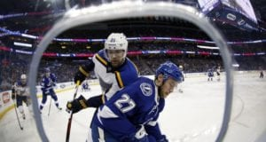 Jonathan Drouin of the Tampa Bay Lightning and Patrik Berglund of the St. Louis Blues