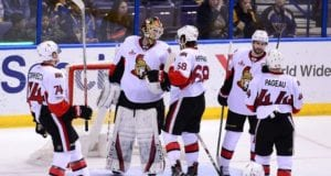 Ottawa Senators teammates congratulate Mike Condon